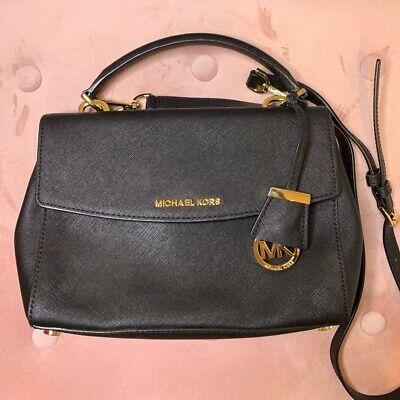 Michael Kors Ava Black Leather Sidebag Saffiano Leather