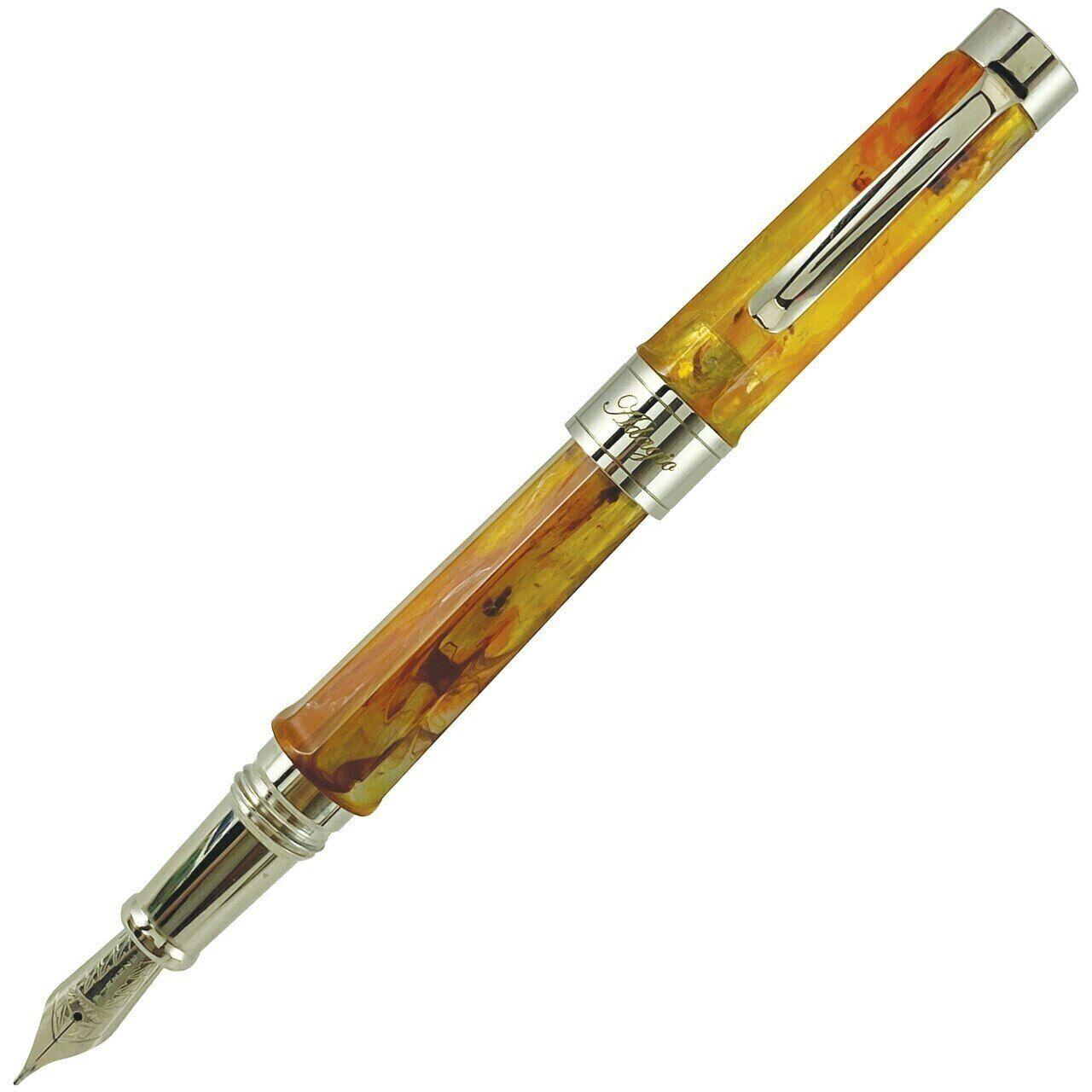 Stipula Adagio Fountain Pen, Amber, Stub Nib, Made In Italy, Brand New In Box Collectibles