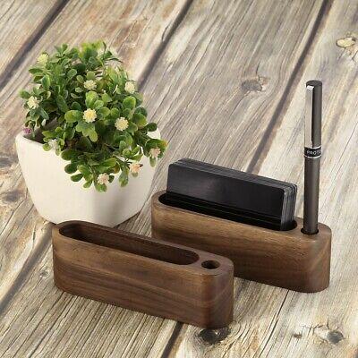 1x Walnut Brown Desktop Business Card Holder Display Stand Hand Made Wooden