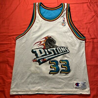 Champion NBA Detroit Pistons #33 Grant Hill Jersey size 40 Reversible VTG Teal