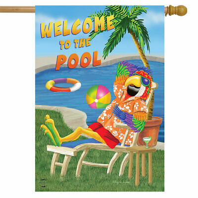 - WELCOME TO THE POOL PARROT PARTY DRINKS SUMMER LARGE HOUSE FLAG 28X40 BANNER