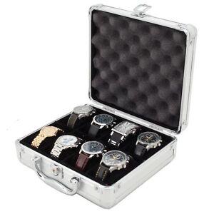 8 Watch Case for Collectors Briefcase Store Safe Aluminum Handle TSBOXAL08-TEX