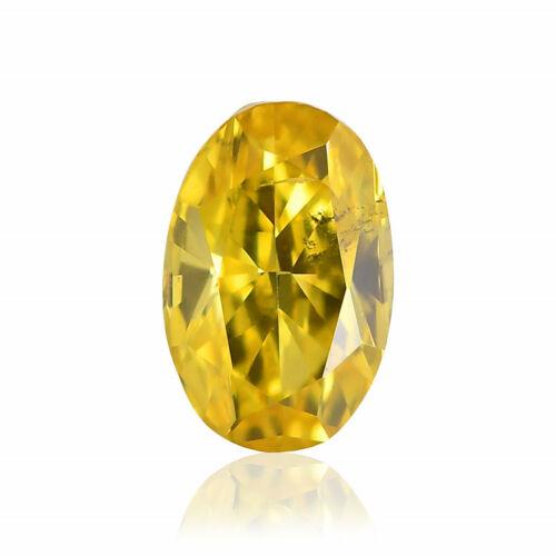0.17 Carat Fancy Vivid Yellow Loose Diamond Natural Color Oval Shape GIA Cert