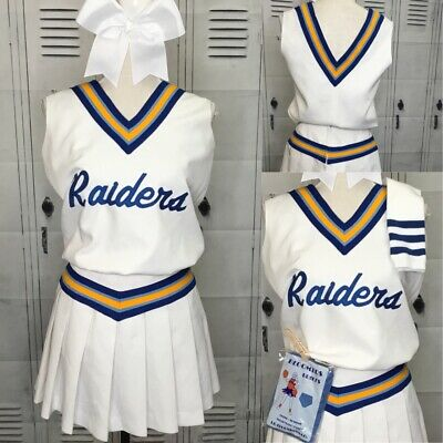 Authentic Real Cheerleading Cheer Uniform Purple Gold White Skirt Shell S M L XL