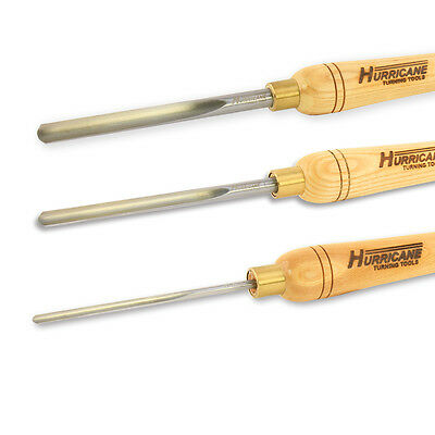 Hurricane Spindle Gouge 3pc Set, Woodturning Tools, High Speed Steel