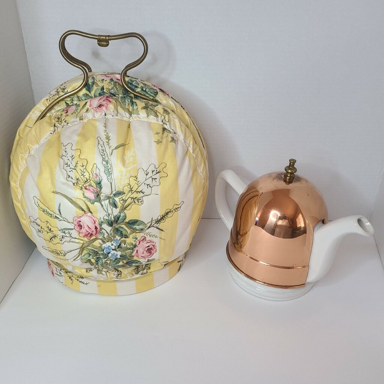 Vintage Porcelain Tea Pot With Copper Cozy Warmer and Insula