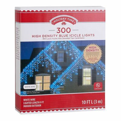 Holiday Time 300 High Density BLUE Icicle Christmas Lights White Wire Set Fairy