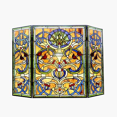 Copper Victorian Fireplace Screen - Stained Glass Chloe Lighting Victorian 3 Panel Fireplace Screen CH1F187AV40-GFS
