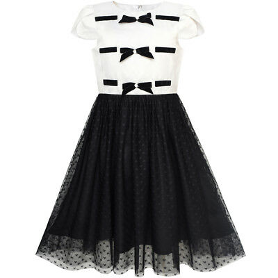 Mädchen Kleid Zurück Schule Schwarz Weiß Bogen Binden Schule Uniform Gr. 110-146