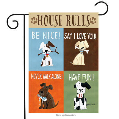 House Rules Dog Garden Flag Humor Puppy Pet Manners Briarwoo