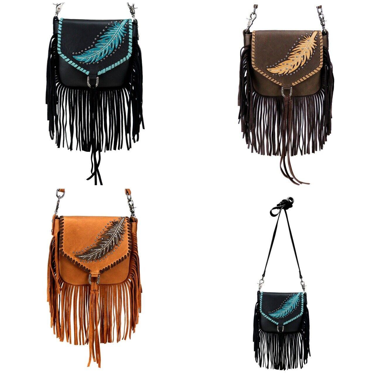 Handtasche Schultertasche Westerntasche Montana West Leder Feder Fransen Nieten