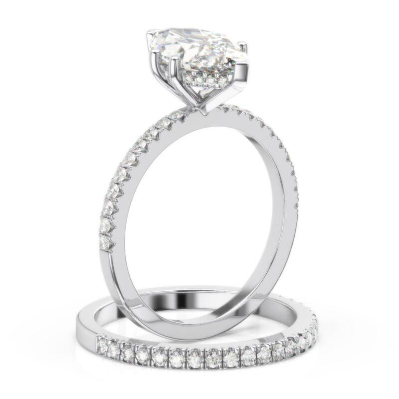 1.25 Ct Diamond Engagement Ring And Matching Band Marquise Cut D Vs1 14k White