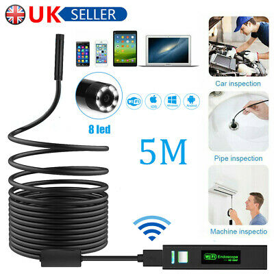 8 LED 1200P HD WiFi Endoscope Inspection Camera IP68 for iPhone Android PC IOS