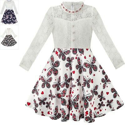 Girls Dress Lace Pearl Plum Blossom Elegant Princess Dress Size 7-14