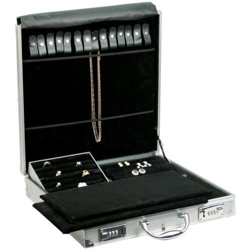 "Alluminum Jewelry Attache Carrying Case w Combo Lock 14 7/8"" x 14 7/8"" x 3 1/2""H"