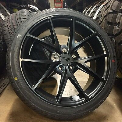 18 Niche Misano Black Wheels Rims Tires Package Volkswagen Jetta GTI Audi A3