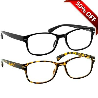 NEW Reading Glasses for Men or Women | 2 Pack Readers Tortoise (Tortoise Glasses Men)