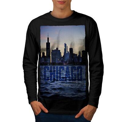Wellcoda Chicago Town Port Mens Long Sleeve T-shirt, City Ship Graphic Design (Port Chicago)
