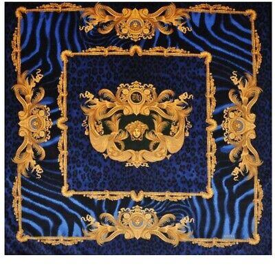 VERSACE WILD DV BLUE ANIMAL PRINT VELVET FABRIC 140CM X 140CM Velvet upholstery
