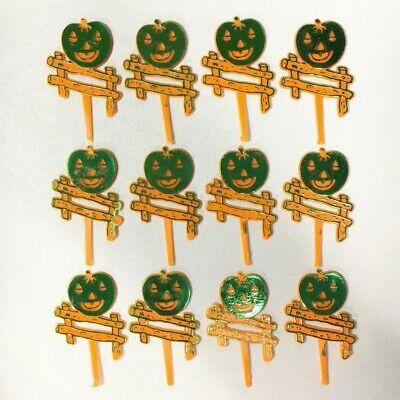 Halloween Pumpkin Decorated Cakes ((12) Vintage Halloween JACK-O-LANTERN PUMPKIN Cupcake Picks Cake Toppers NEW)