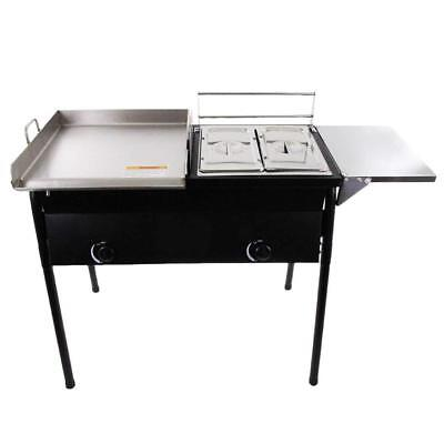 Commercial Restaurant Gas Grill W2 Deep Fryer Heavy Duty Countertop Grill Food