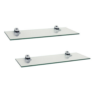Set of 2 Clear Glass Floating Shelves with Chrome Brackets 16 x 6""