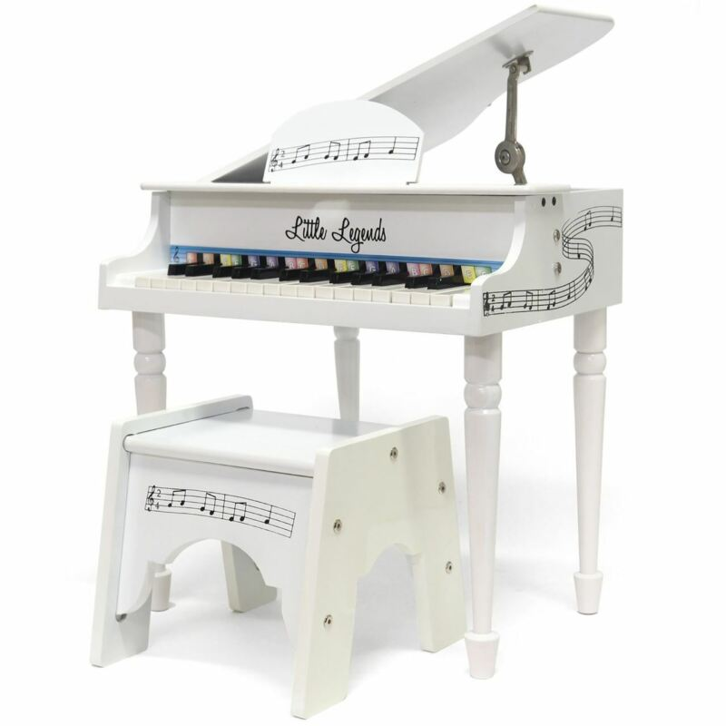 Little Legends LLBGD304W 30-Key Baby Grand Piano with Bench, White