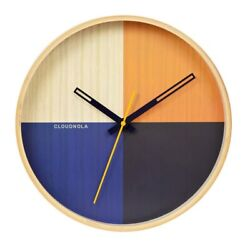 New Modern Contemporary Multi Colored Flor Blue Wood Frame Metal Hand Wall Clock