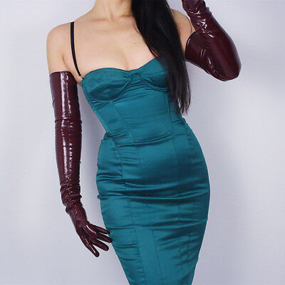 LATEX GLOVES Extra Long Shine Leather Faux Patent PU 28
