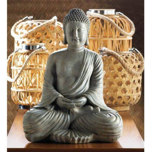 Large Meditation Prop Peaceful Buddha Stone Look Wall Home Far East Statue Decor
