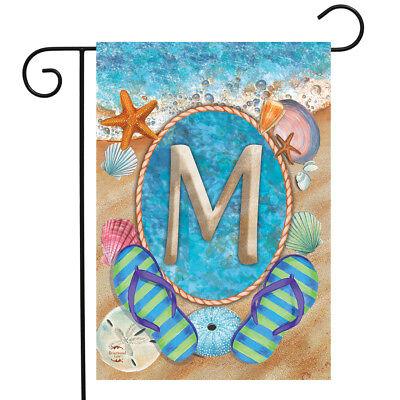 Summer Monogram Letter M Garden Flag Flip Flops Seashells 12.5