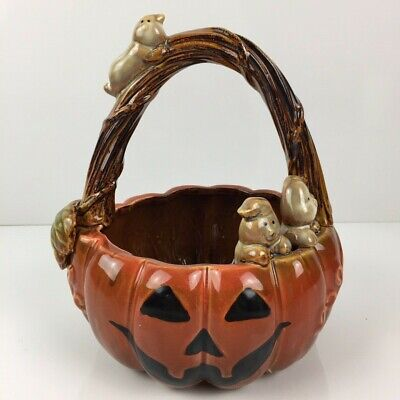 Tii Collections Halloween Ceramic Handled Pumpkin Bowl Basket with Ghosts