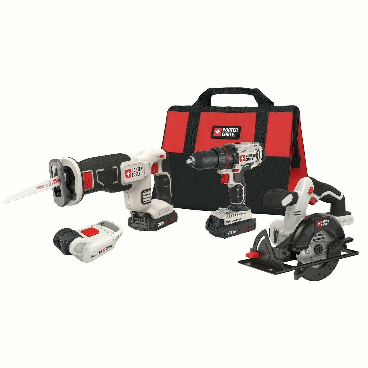 Power Tools Combo Kit Tool Set 20 Volt Max Lithium Ion Batte