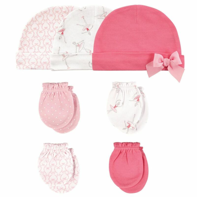 Hudson Baby Girl Cap and Scratch Mittens, 7-Piece Set, Ballerina