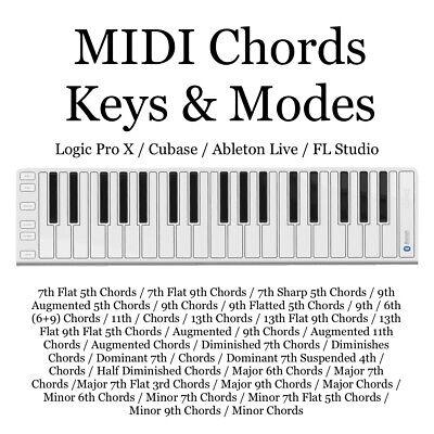 Midi Chords Keys & Modes / 348 Midi Files / Logic Pro...