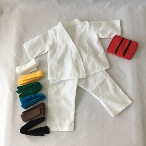 """KARATE GI OUTFIT Martial Arts w/ Belts Kick Pad to fit American Girl or 18"""" Doll"""