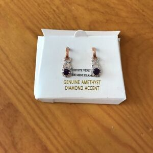 Genuine amethyst and diamond earrings