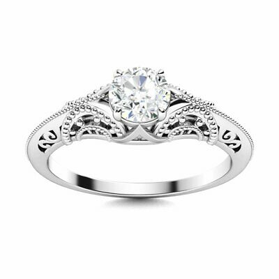 GIA Certified 0.45 Carat GH/SI Real Diamond Vintage Inspired Ring 14k White Gold