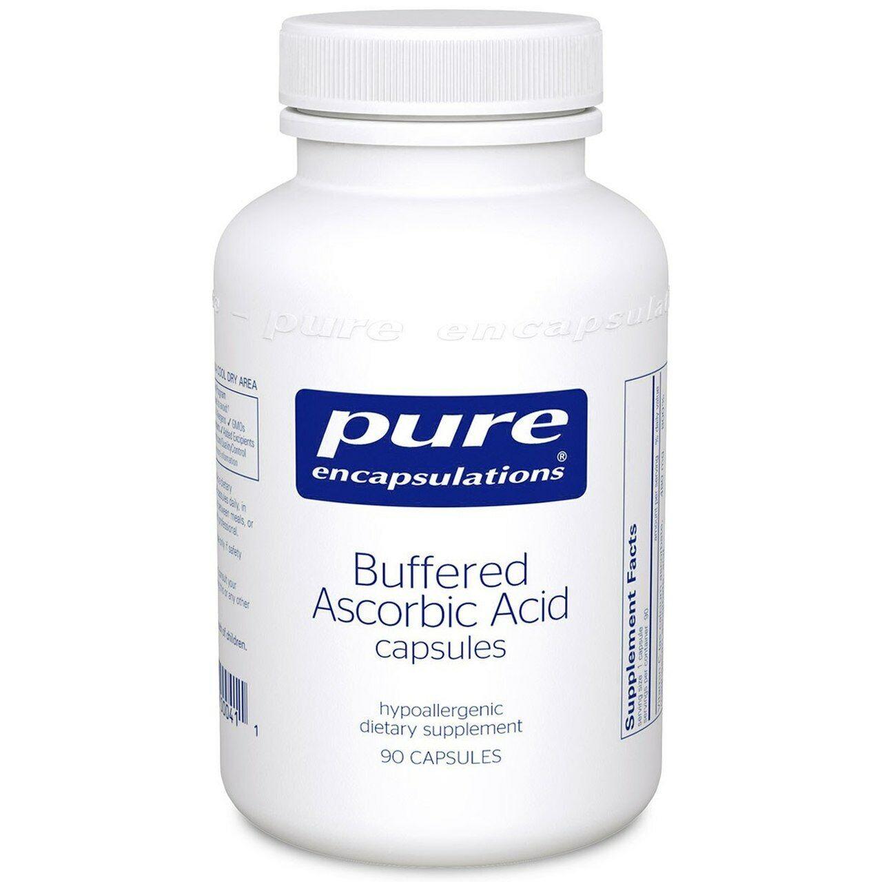 Pure Encapsulations-Buffered Ascorbic Acid Vit C 90 Caps.3/22: Sealed FREE SHIP