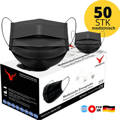 50x OP Maske medizinisch Schwarz Typ IIR Mundschutz 3-lagig Einwegmasken Hygiene