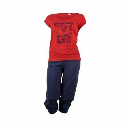 Damen Kurzarm Schlafanzug, Rot/Marine