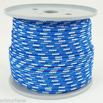 4mm Reepschnur 50m blau weiss/weiss  Seil Schnur Schot Kordel Leine für Outdoor
