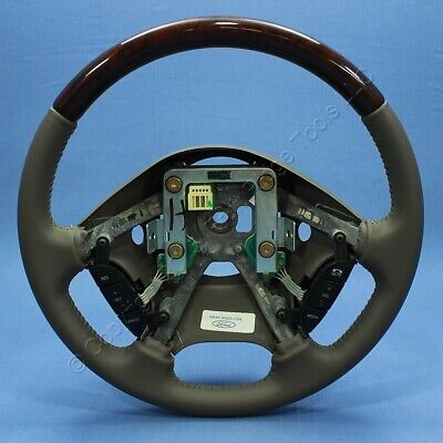 New Ford OEM XW4A-3F563-CGW Gray Leather & Wood Grain Steering Wheel