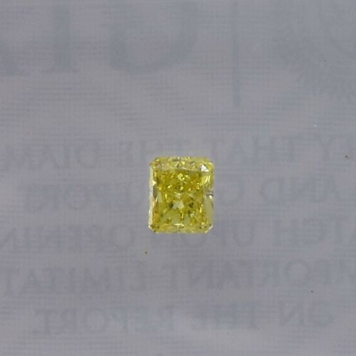 0.15Cts Fancy Intense Yellow Loose Diamond Natural Color Radiant Cut GIA Cert