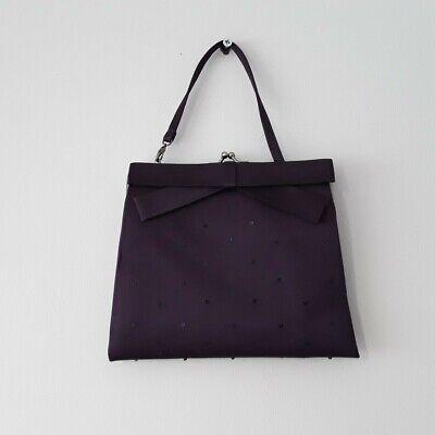 Vintage 90s Coast Dark Purple Silk & Sequin Mini Evening Bag, Prom Formal Event
