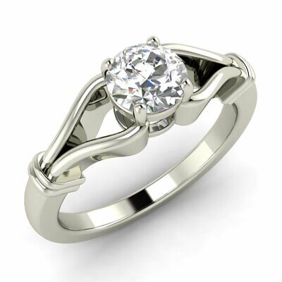 0.45 CT ROUND CUT DIAMOND SOLITAIRE ENGAGEMENT RING IN 14K WHITE GOLD, GIA/IGI