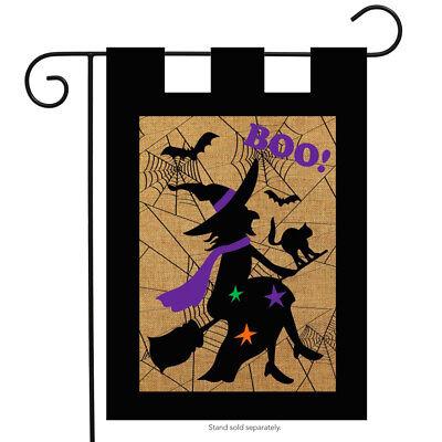 "Halloween Witch Burlap Garden Flag Boo Bats Black Cat 12.5"" x 18"""