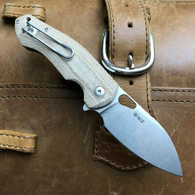 GIANT MOUSE ACE KNIVES BIBLIO NATURAL CANVAS MICARTA M390 FOLDING KNIFE.