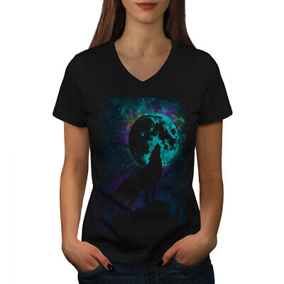 Wellcoda Howling Wolf Pack Womens V-Neck T-shirt, Wild Graphic Design Tee Wolfpack Designs