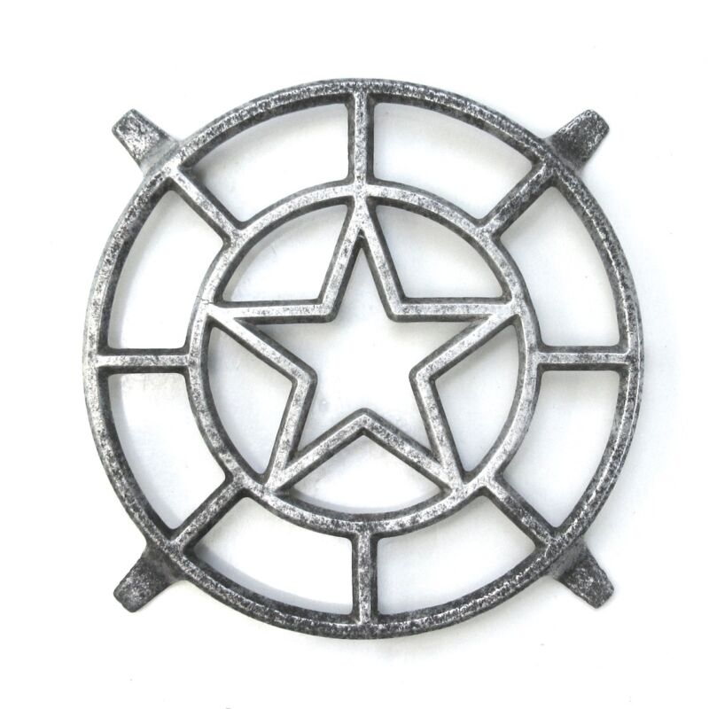 Vintage French Cast Aluminum Trivet, Star Design
